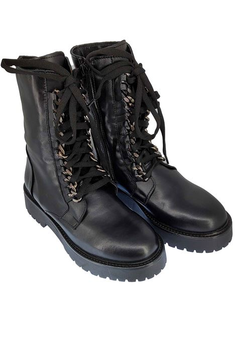 Women's Footwear Anfibi in Black Leather Laced with Chain and Rubber Sole Tank Spatarella | Ankle Boots | M02001