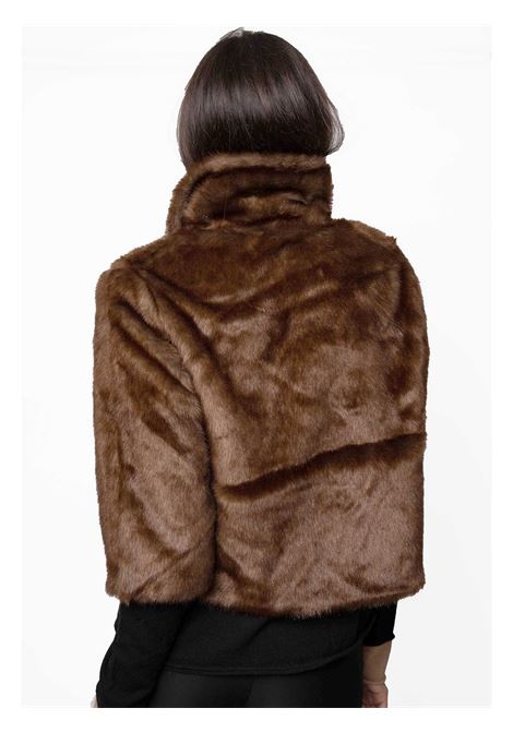 Women's Clothing Jacket in Brown Eco-fur and Black Lining with 3/4 Sleeves  Spatarella | Coats and jackets | SP21202013