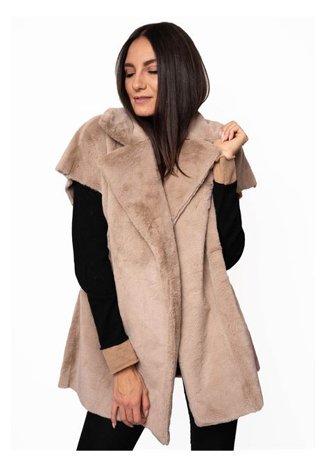 Women's Clothing Coat Waistcoat in Nut Eco-Fur and Matching Lining with Rever Collar Spatarella | Coats and jackets | SP21208014