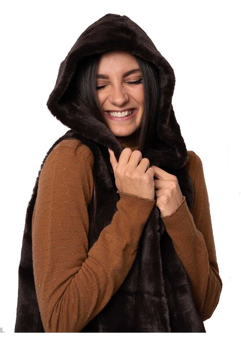 Women's Clothing Coat Waistcoat in Brown Eco-fur and Matching Lining with Hood Spatarella | Coats and jackets | SP21209014