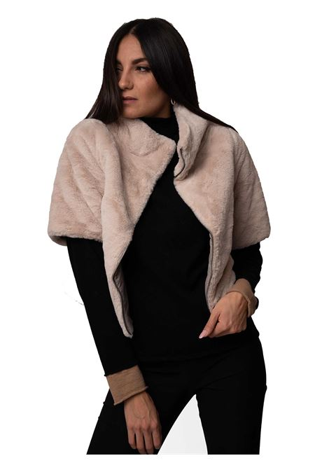 Women's Clothing Jacket in Beige Eco-Fur and Ivory Lining with Zip Fastening Closure Spatarella | Coats and jackets | SP21210015