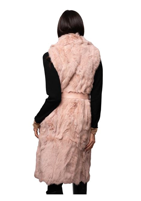 Women's Clothing Coat Waistcoat in Pink Lapin and Black Lining with Rever Collar and Eco-leather Belt Spatarella | Coats and jackets | SP21306301
