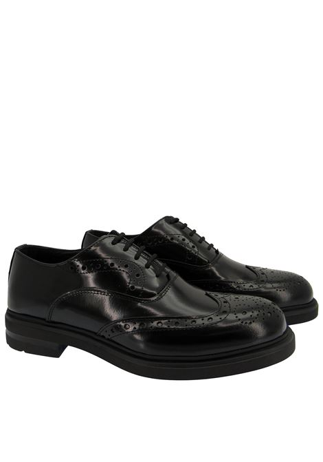 Men's Shoes Lace-up in Black Leather with Stitching and Ultra Light Rubber Sole Spatarella | Lace up shoes | SP3002C001