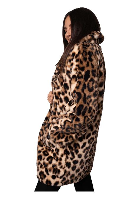 Women's Clothing Coat in Animalier Leopard Print Eco-fur with Black Lining and Lapel Collar Spatarella | Coats and jackets | SP61215500