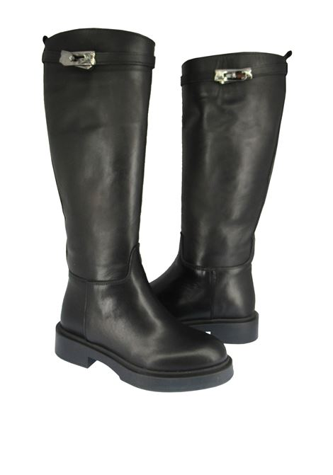 Women's Shoes Boots in Black Leather with Matching Rubber Sole and Side Accessory Spatarella | Boots | SP700C001