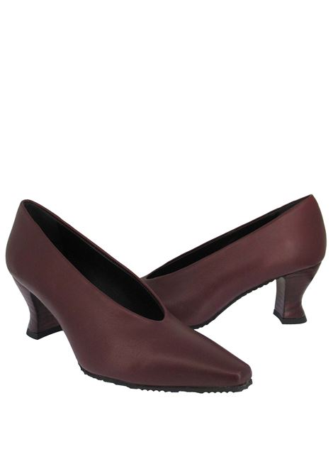 Women's Shoes Decolleté in Bordeaux Leather with Matching Leather Heel Spatarella | Pumps | SR 11018