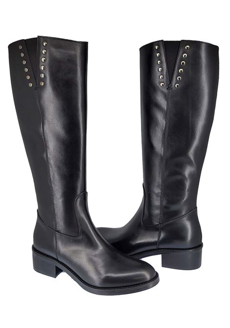 Women's Shoes Boots in Glossy Black Leather with Gunmetal Studs and Low Heel Spatarella | Boots | ST02001