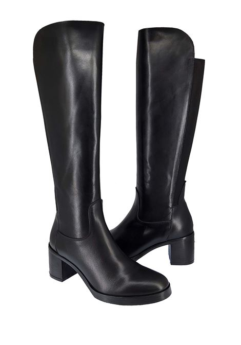 Women's Boots in Black Leather with Elastic Back Heel and Rubber Sole Spatarella | Boots | ST30001