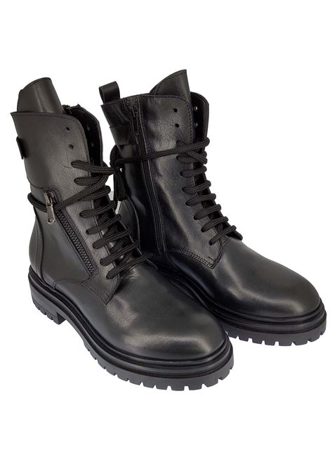 Women's Shoes Amphibious Lace-up Boots in Black Leather and Rubber Tank Sole Spatarella | Ankle Boots | TR1654001