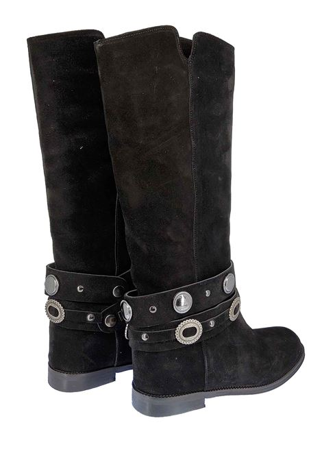 Women's Shoes Boots in Black Suede with Strap and Studs Inside Wedge Spatarella | Boots | TS8010001