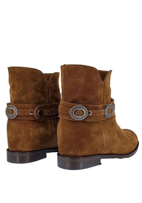 Women's Shoes Ankle Boots in Tan Suede with Strap and Studs Inside Wedge Spatarella | Ankle Boots | TS8012014
