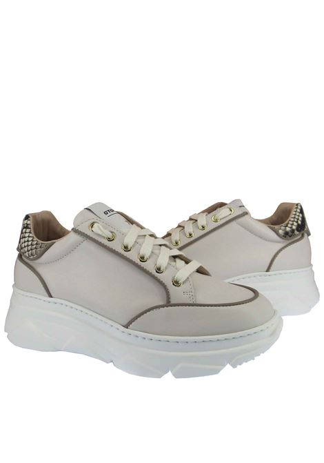 Women's Shoes Lace-up Sneakers in Cream Leather with Python Leather Trim and Wedge Sole Stokton | Sneakers | 421-D502