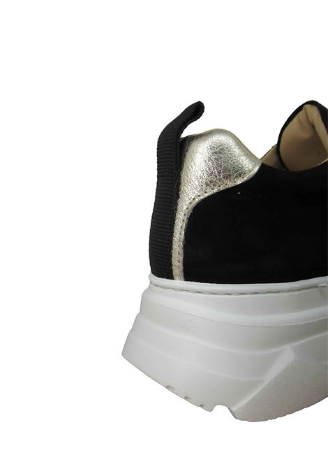Women's Shoes Lace-up Sneakers in Black Suede with Gold Chain and Wedge Sole Stokton | Sneakers | 432-D001