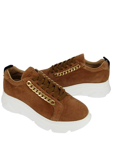 Women's Shoes Lace-up Sneakers in Tan Suede with Gold Chain and Wedge Sole Stokton | Sneakers | 432-D014