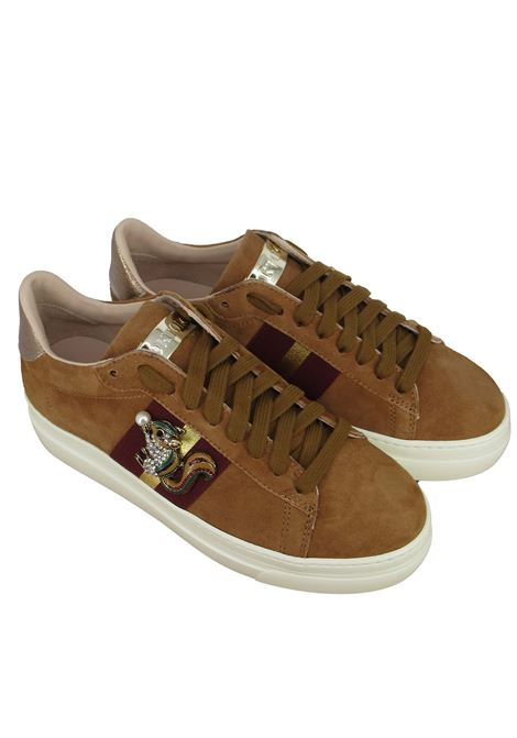 Women's Shoes Sneakers in Tan Suede with Laminated Side Band and Jewel Accessory Stokton | Sneakers | 817-D014