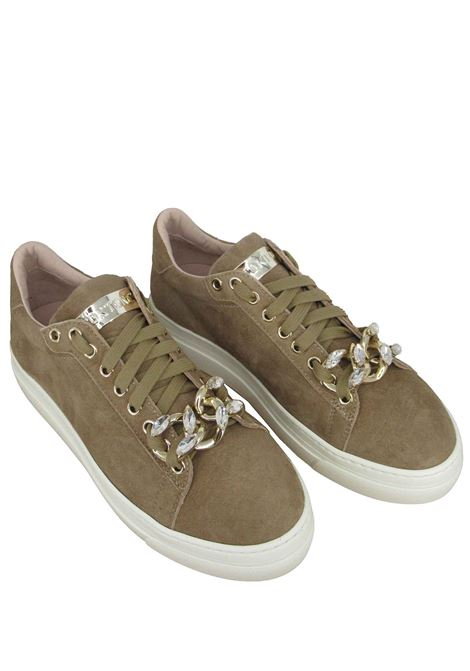 Women's Shoes Sneakers in Taupe Suede with Jewel Accessory and White Rubber Sole Stokton | Sneakers | 822-D508