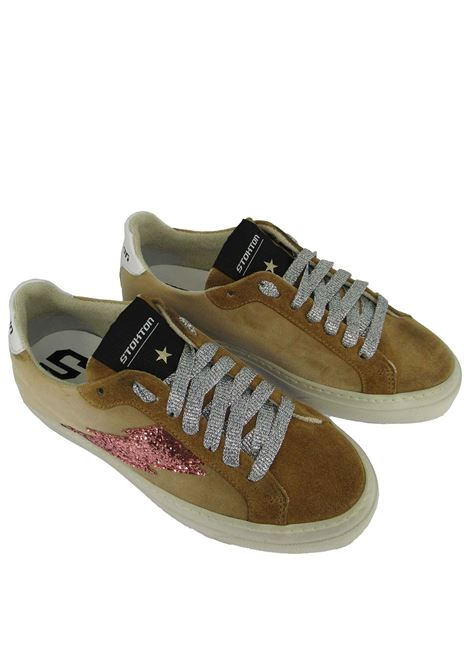 Women's Shoes Lace-up Sneakers in Camel Velvet and Suede with Rubber Sole Stokton | Sneakers | BLAZE-DVICTORIA