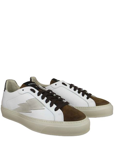 Men's Shoes Lace-up Sneakers in White Leather and Tobacco Suede with Rubber Sole Stokton | Sneakers | BLAZE-U101