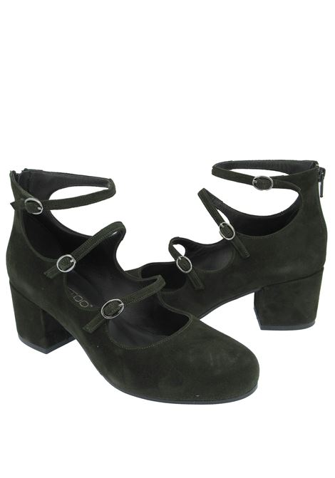 Women's Shoes Pumps Décolleté in Military Green Suede with Straps and Buckles Tattoo | Pumps | 523004