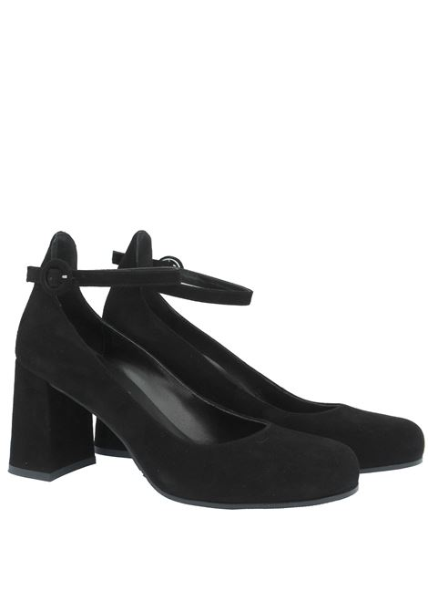Women's Shoes Décolleté in Black Suede with Round Toe Ankle Strap and High Heel Tattoo   Pumps   A 802001