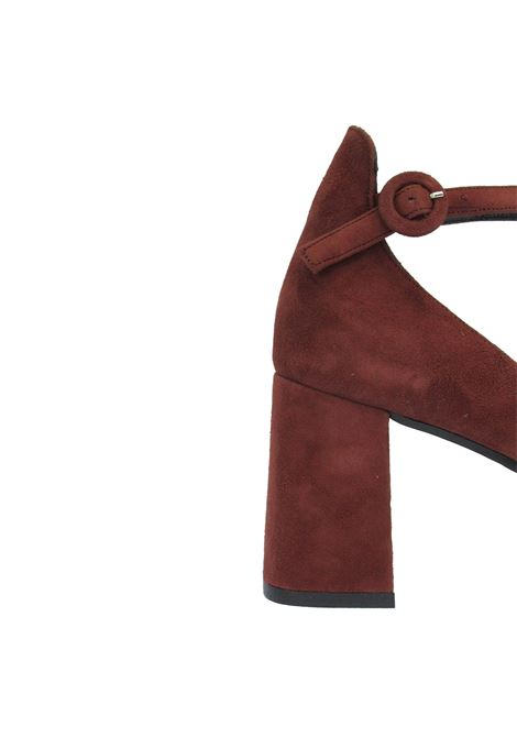 Women's Shoes Décolleté in Rusty Suede with Round Toe Ankle Strap and High Heel Tattoo | Pumps | A 802011