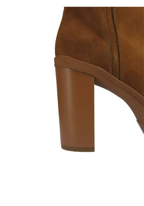 Women's Shoes Ankle Boots in Tan Suede with High Heel and Matching Platform Tattoo | Ankle Boots | DENIS 2014