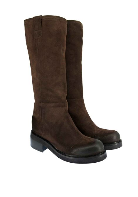 Women's Shoes Boots Amphibian in Vintage Brown Suede and Rubber Sole Tattoo | Boots | FIAMMA 3014