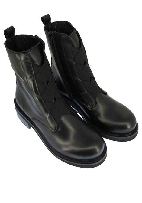 Women's Shoes Ankle Boots in Black Leather with Elastics and Side Zip with Rubber Sole Tattoo | Ankle Boots | GAIA 13001