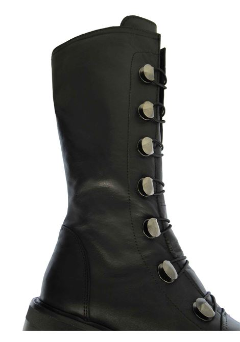 Women's Boots in Black Leather with Elastics and Buttons with Side Zip and Rubber Sole Tattoo | Boots | GAIA 47001
