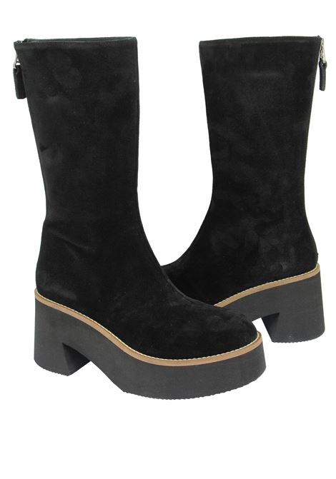 Women's Shoes Boots in Black Suede with Back Zip Closure with Micro Ultra Lightweight Heel and Wedge Tattoo | Boots | MON 18001