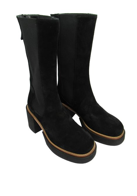Women's Shoes Boots in Black Suede with Back Zip Closure with Micro Ultra Lightweight Heel and Platform Tattoo | Boots | MON 30001