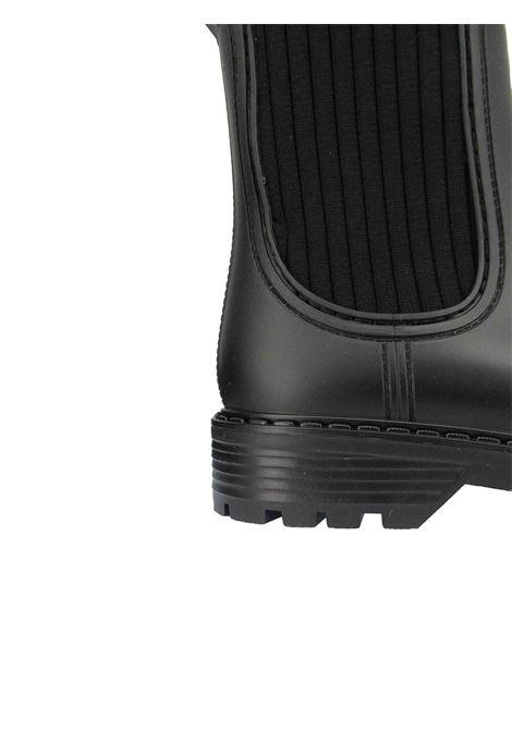 Calzature Donna Stivaletti Antipioggia in Pvc Nero con Tessuto Elasticizzato in Tinta Unisa | Stivaletti | AYNAR001