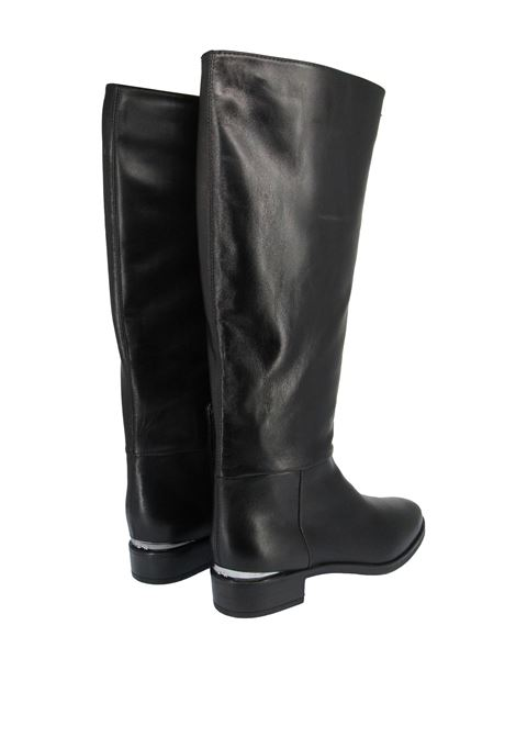 Women's Shoes Riding Boots in Black Leather with Low Heel and Silver Buckle Unisa | Boots | BAJINI001