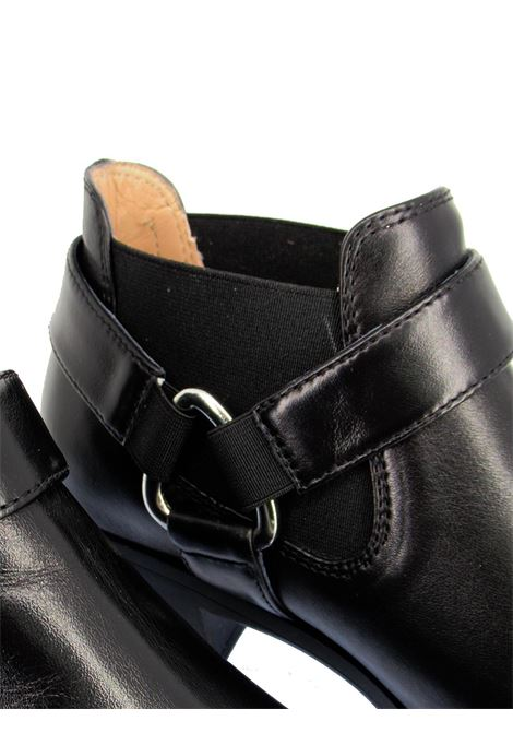 Women's Shoes Texan Ankle Boots in Black Leather with Matching Elastics and Mexican Heel Unisa | Ankle Boots | GONIL001