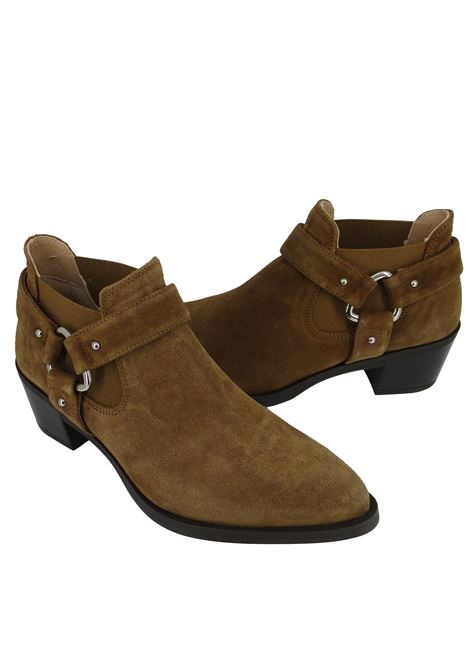 Women's Shoes Texan Ankle Boots in Tan Suede with Matching Elastics and Mexican Heel Unisa | Ankle Boots | GONIL014