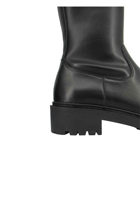 Calzature Donna Stivaletti in Pelle Nera con Ecopelle Elasticizzata Nera Zip Laterale e Fondo Zeppa in Gomma Unisa | Stivaletti | GUIDO001