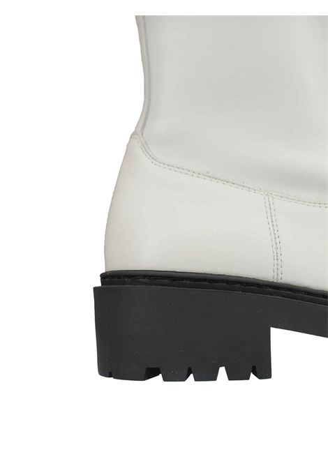Calzature Donna Stivaletti in Pelle Avorio con Ecopelle Elasticizzata Avorio Zip Laterale e Fondo Zeppa in Gomma Unisa | Stivaletti | GUIDO015