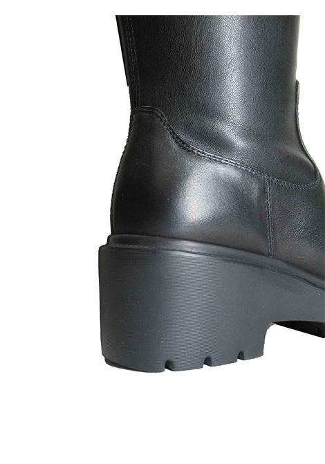 Calzature Donna Stivali in Pelle Nera con Zeppa in Gomma e Zip Laterale Unisa | Stivali | JONJA001