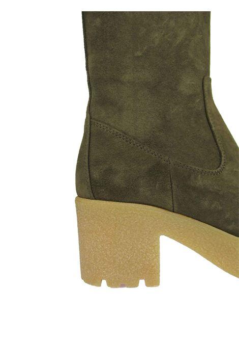 Calzature Donna Stivaletti in Camoscio Verde con Zeppa Alta in Para e Zip Laterale Unisa | Stivaletti | KRIPTO005
