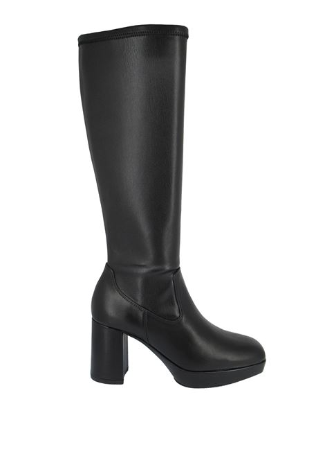 Women's Shoes Boots in Black Elasticized Eco-Leather with Matching Heel and Platform Unisa | Boots | MENA001