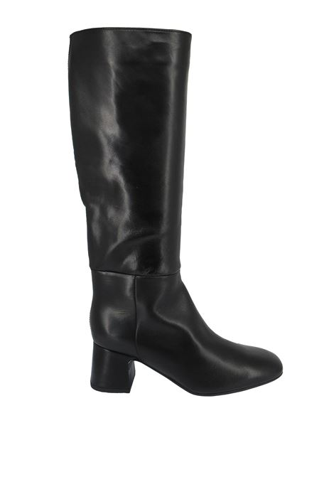 Women's Shoes Tube Boots in Black Leather with Heel and Square Toe Unisa | Boots | MIEDE001