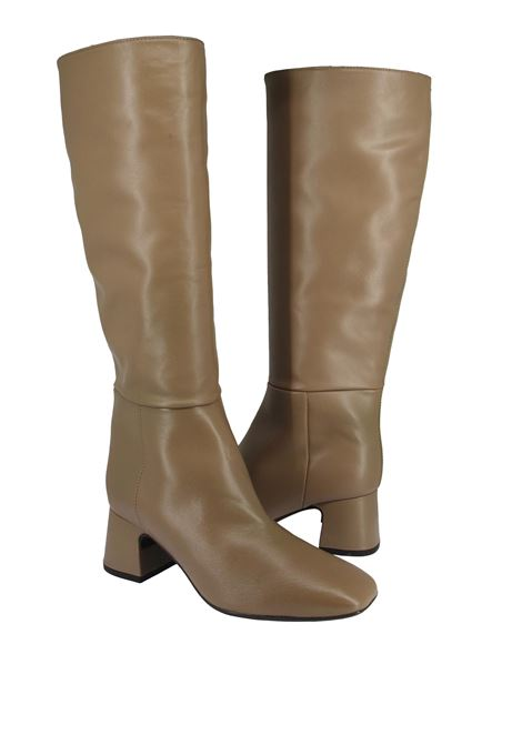 Women's Shoes Tube Boots in Taupe Leather with Heel and Square Toe Unisa | Boots | MIEDE023