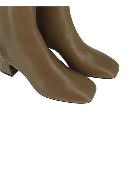 Women's Shoes Ankle Boots in Taupe Leather with Back Zip Leather Heel and Square Toe Unisa | Ankle Boots | MONCADA023