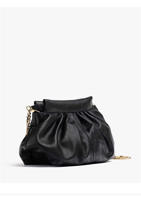 Women's Accessories Clutch Bag Dianca in Black Leather with Shoulder Strap in Golden Metallic Chain Unisa | Bags and backpacks | ZDIANCA0011