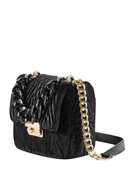 Accessori Donna Borsa Mini Velvet In Velluto Trapuntato Nero Con Tracolla In Pelle e Catena Via Mail Bag | Borse e zaini | MINIV05