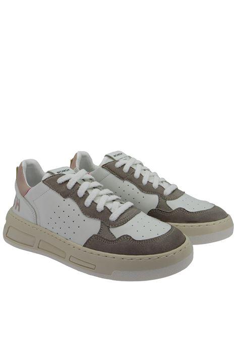 Calzature Donna Sneakers Stringate Hyper in Pelle Bianca e Camoscio Fango Fondo in Gomma Miele Womsh | Sneakers | HYPER003