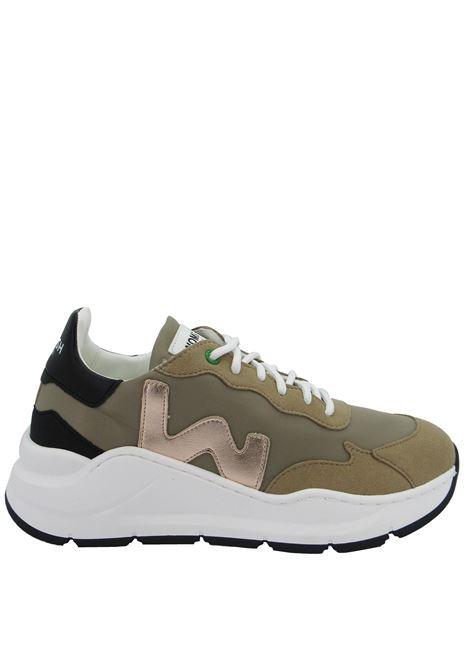 Calzature Donna Sneakers Stringate Vegan Wave in Nylon Beige Fondo Zeppa in Gomma Bianca Womsh | Sneakers | VEGAN WAVE004