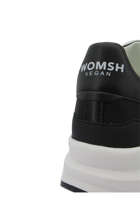 Calzature Donna Sneakers Stringate Vegan Wave in Nylon Nero Fondo Zeppa in Gomma Bianca Womsh | Sneakers | VEGAN WAVEWA005