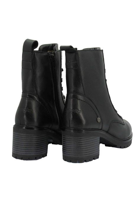 Women's Anfibi Boots Sierra Lace in Black Leather with Medium Heel and Rubber Sole Tank Wrangler | Ankle Boots | WL12512A062