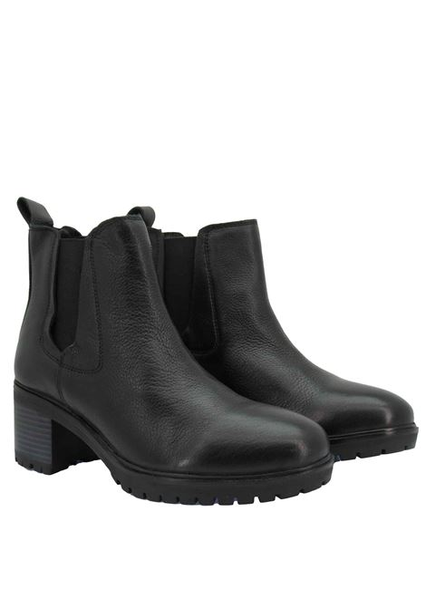 Women's Ankle Boots Beatles Sierra Chelsea in Black Leather with Medium Heel and Rubber Sole Tank Wrangler | Ankle Boots | WL12513A062